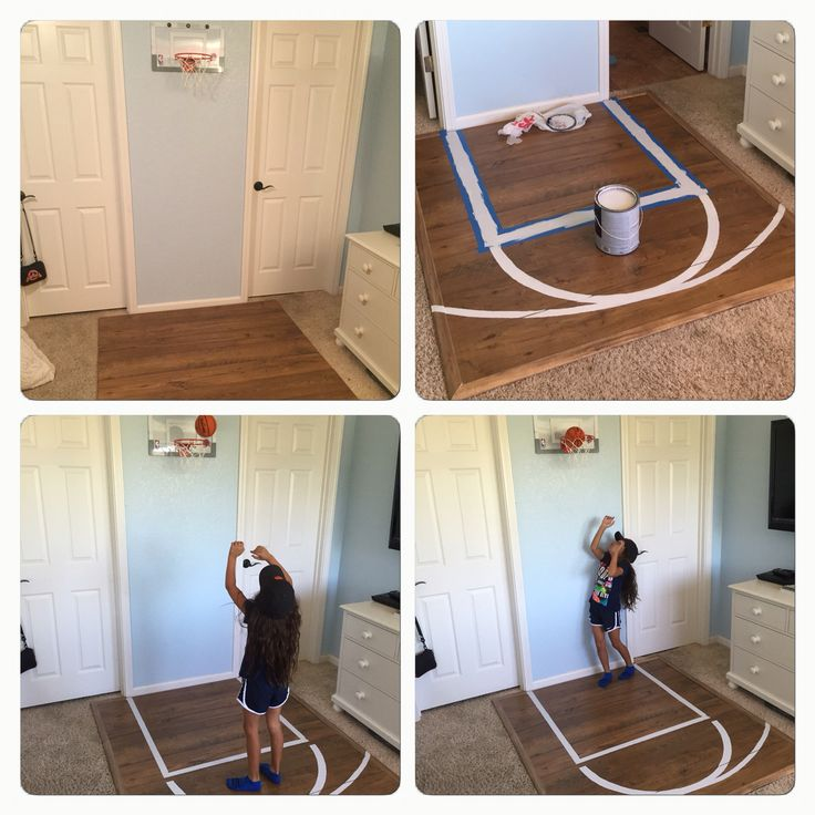 Bedroom Basketball Court, half court, kids room ideas, diy, left over laminate flooring, repurpose, girl's room, boy's room, sports room, left over paint, hoops, NBA slam jam,