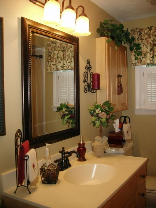 Old World/Tuscan bathroom , This is my redecorated bathroom that had all shiny…