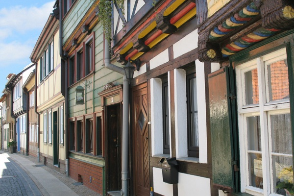 Fachwerkhäuser in der Innenstadt von Wernigerode.