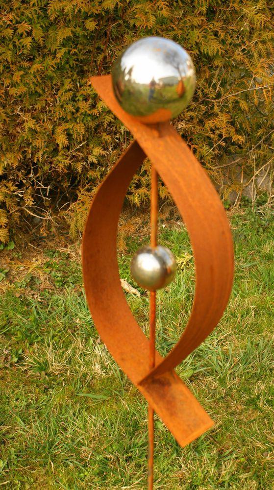 Gartendeko rost skulptur 120 cm mit edelstahlkugel garten for Gartendeko stecker
