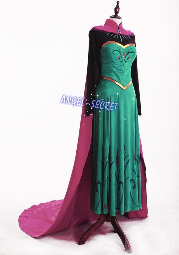 J799 Movies Frozen coronation Elsa Cosplay Costume Deluxe Dress tailor made adult
