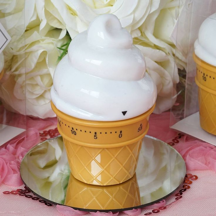 "Wholesale Ice Cream Kitchen Timer Wedding Bridal Party Favor Gift | eFavorMart / At first your guests will be wonderstruck to see these mouthwatering ice-cream cones on the tables, taking them for real theyll all scream with joy I scream, you scream, we all scream for ICECREAM"" once realizing what real sensations these actually are, theyll surely marvel at these fun-provoking and absolutely functional ice cream timer favors. Let the party start with these darling delectable ice-cream cones…"