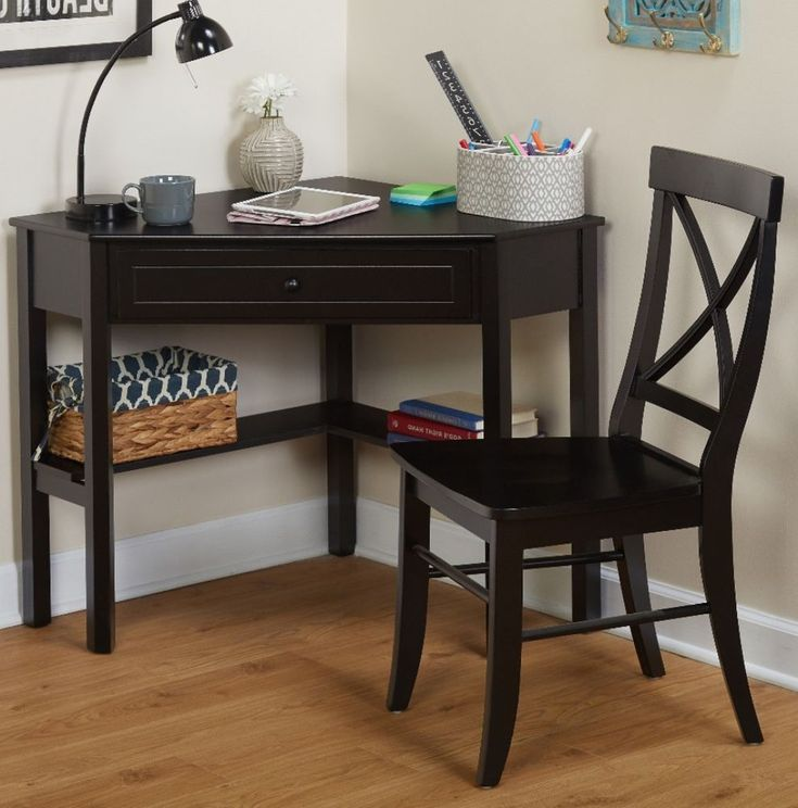 Black Corner Desk And Crossback Chair 2-Piece Study Set Home Office Furniture #desk