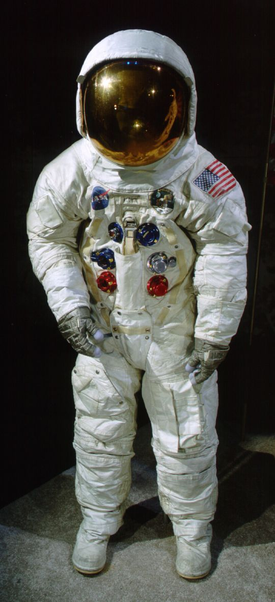 "This spacesuit was worn by astronaut Edwin ""Buzz"" Aldrin, lunar module pilot of the Apollo 11 mission which landed the first man on the moon on July 20, 1969."