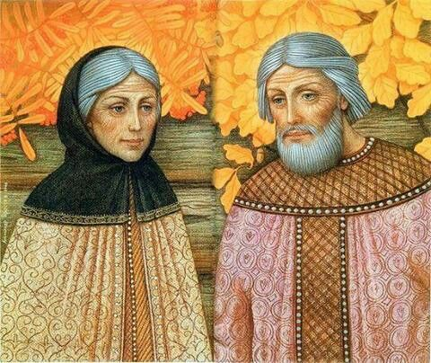 The Patron Saints of Marriage, Love, Family and Fidelity. Celebrated in Russia up to 1917. Saints Peter and Fevronia.