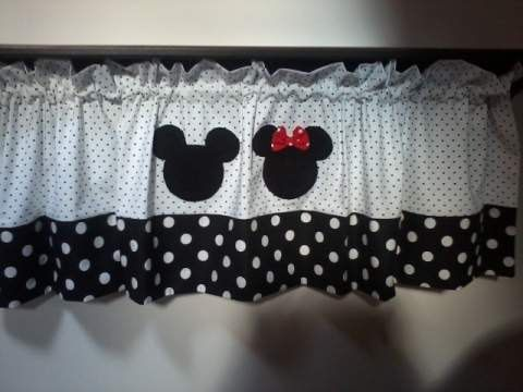 Mickey and Minnie Mouse Black and White Polka Dot Curtain Valance