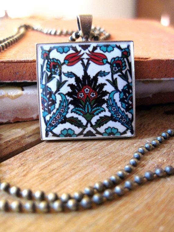 Turkish jewelry, Iznic ceramic tile design antique brass pendant necklace, Islamic jewelry, Tribal, Global fashion, Islamic necklace