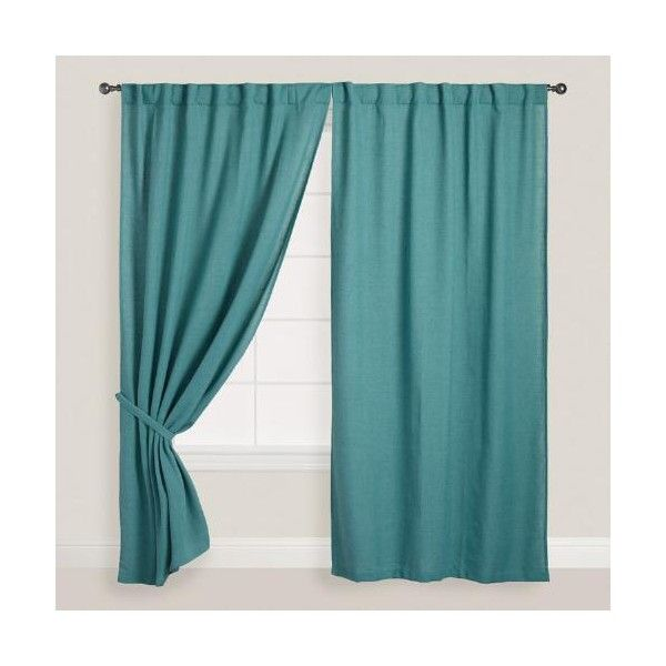 Cost Plus World Market Ocean Blue Bella Concealed Tab Top Curtains ($70) ❤ liked on Polyvore featuring home, home decor, window treatments, curtains, blue, blue window treatments, fabric home decor, ocean blue curtains, blue curtains and blue home decor