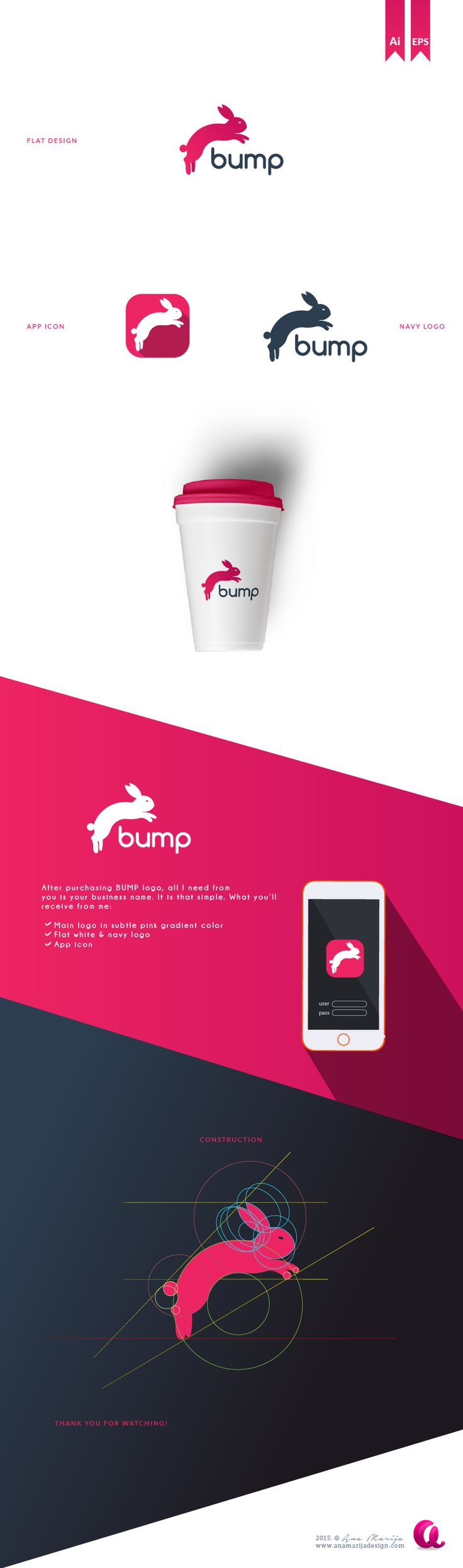 Bump - jumping rabbit logo on Behance