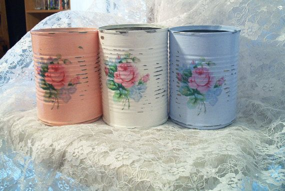3 shabby chic pink blue white tin cans repurposed by PrincessPeony, $20.00