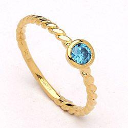 Rund blå ring i forgyldt sølv