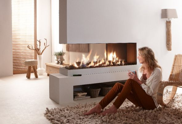 Frameless 3-sided built-in fire and Roomdivider glass left or right