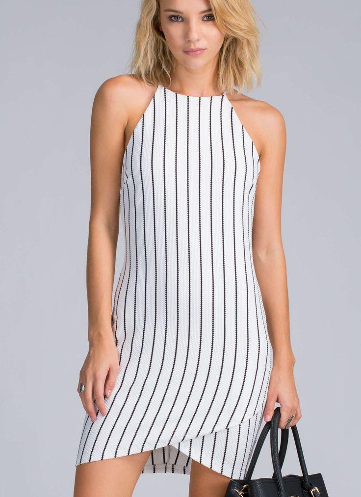 Vertical Integration Striped Dress WHITEBLACK