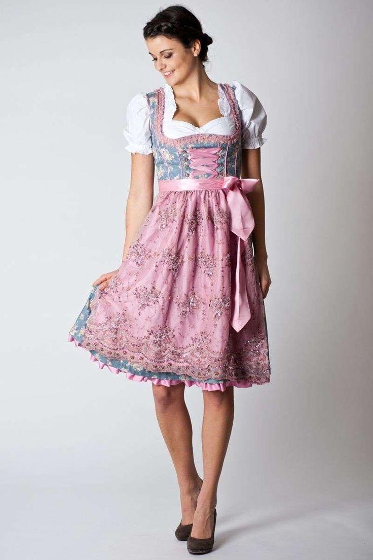 Trachten Dirndl Antoinette, midi, hellblau/rosa