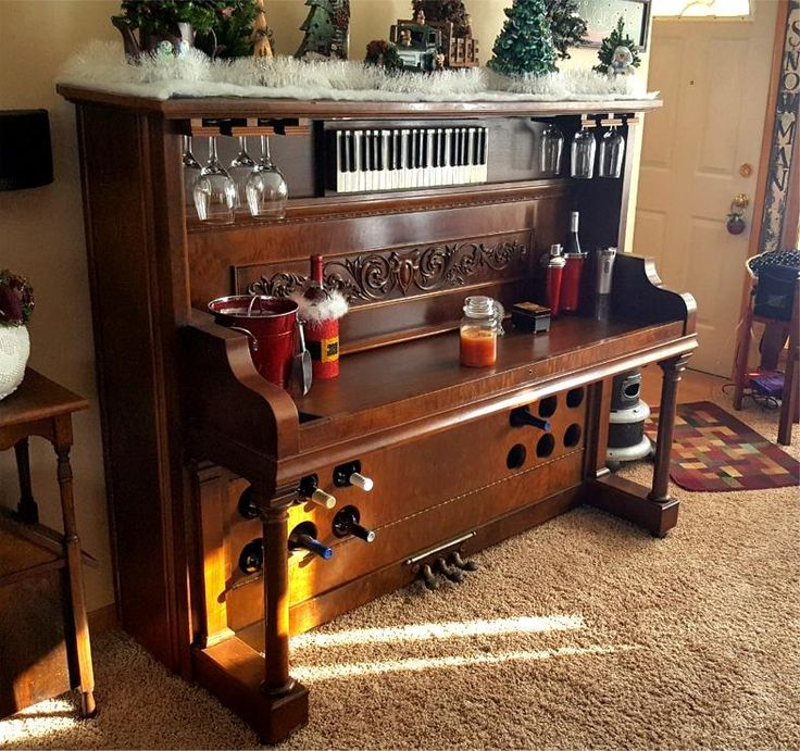 Custom piano bar repurposed by Chadima Furniture and Restoration in Cedar Rapids, IA