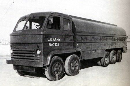 1957 EISENHAUER X2 - US Army prototype, 2 x GMC 6-cylinder engines side by side driving first and third axles. Rejected after trials