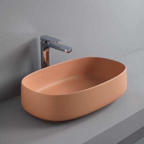 Lavabo da appoggio ovale Cognac 55 bordo fino arancio