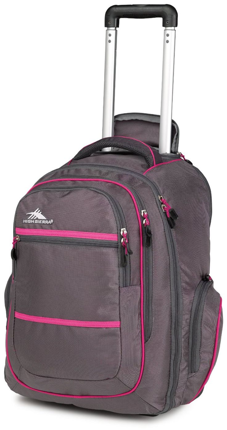 High Sierra Wheeled Backpack For School. easy to switch from backpack to rolling bag. Perfect for travel. Fits under most airline seats and overhead compartments.