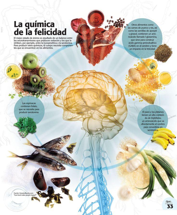 #Infografia La #Quimica de la #Felicidad...  El mejor estado de ánimo es resultado de un balance entre los neurotransmisores que producen excitación y los que la inhiben, por ejemplo, entre la norepinefrina y la serotonina. Para producir estos químicos, el cuerpo necesita componentes que se encuentran en los alimentos.  Vía @Candidman