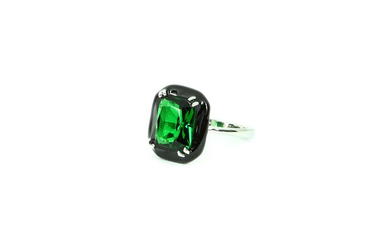 Grab 'em before they sell out! Baguette Enamel Ring - Octagon Emerald Green Swarovski - White Gold and Black Enamel Plated Ring - Free Shipping on my Etsy shop✨   https://www.etsy.com/listing/240317380/baguette-enamel-ring-octagon-emerald?utm_campaign=crowdfire&utm_content=crowdfire&utm_medium=social&utm_source=pinterest