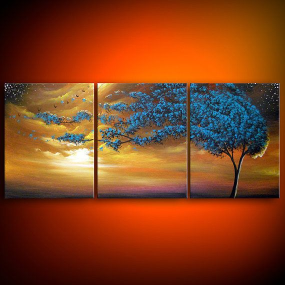 art original painting wind blow tree painting art by mattsart