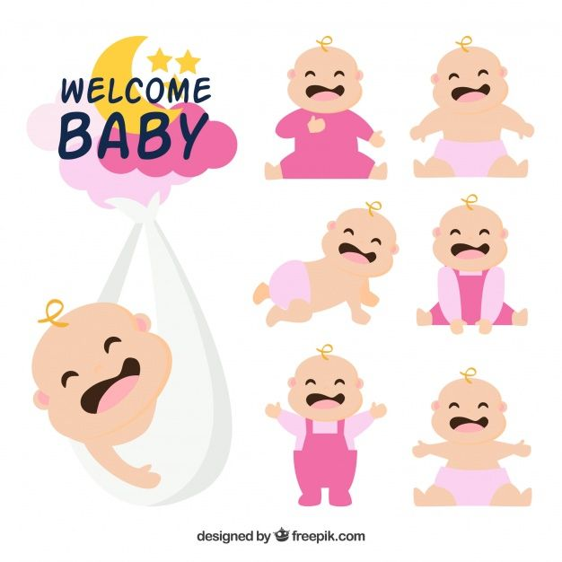 Babies collection in hand drawn style Free Vector