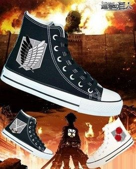 Attack on Titan Shoes hand painted shoes Custom by paintedscanvas, $59.99