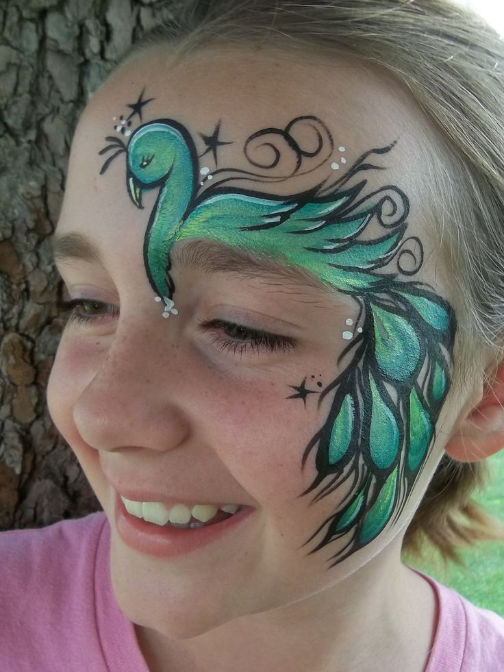 Easy, over the eye bird face painting design.