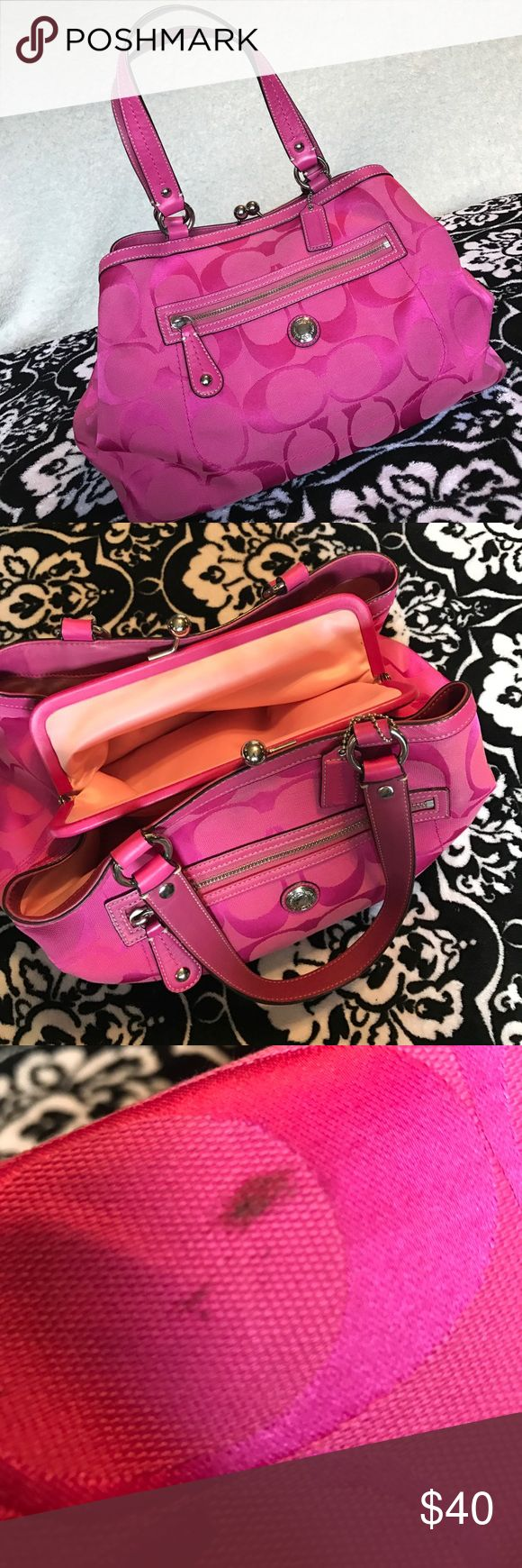 Coach purse Pink coach purse! Exterior in great condition. Lining has some staining and there is a spot on the back of the bag- everything pictured. Beautiful color. Coach Bags Totes