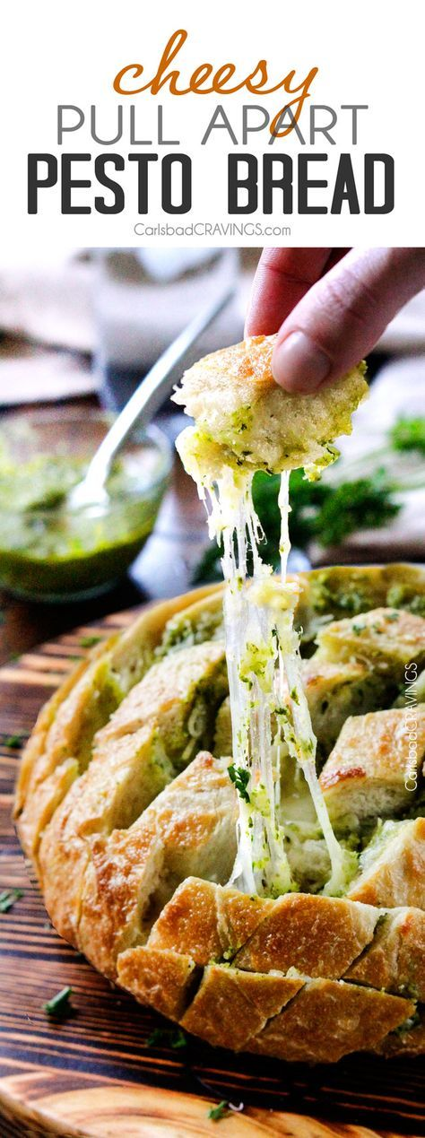 Cheesy Pull Apart Pesto Bread - This will make your life easier and all of your parties more delicious!