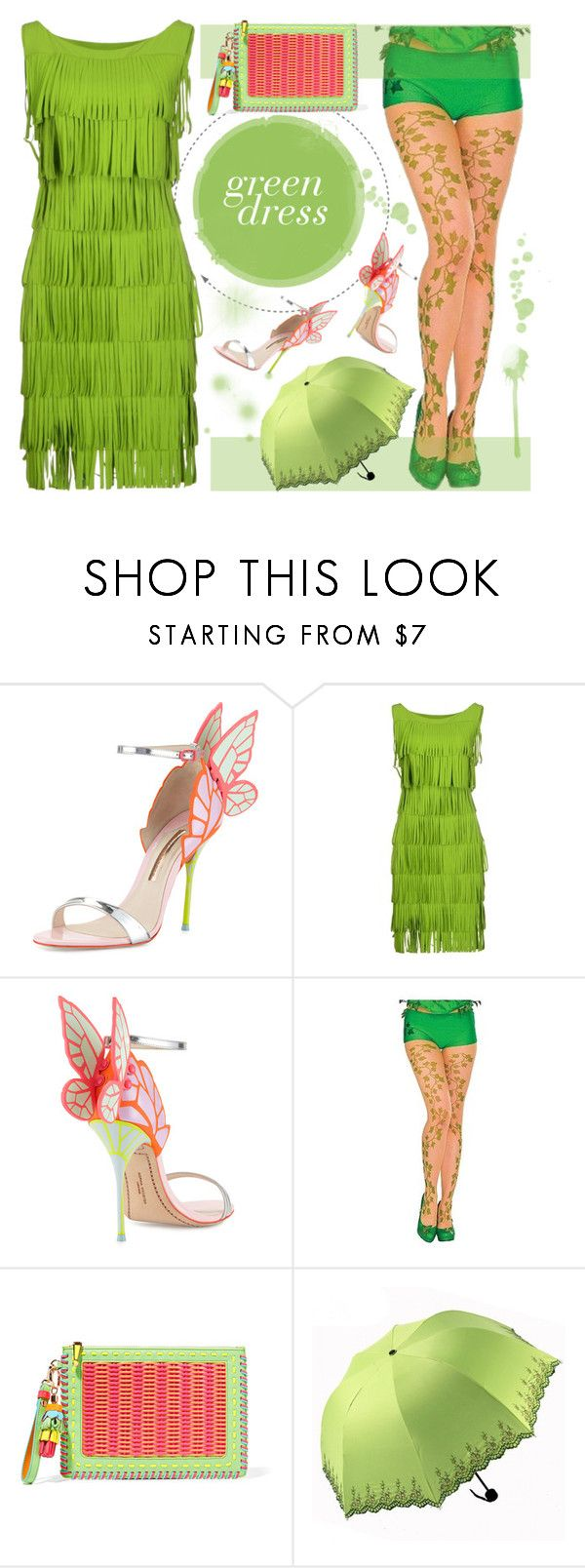 """""""Green dress"""" by crochetnecklaces ❤ liked on Polyvore featuring Sophia Webster and La Petite Robe di Chiara Boni"""