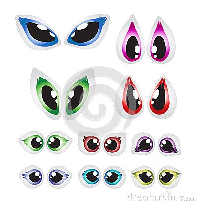 Vector cartoon eyes set  on white background.