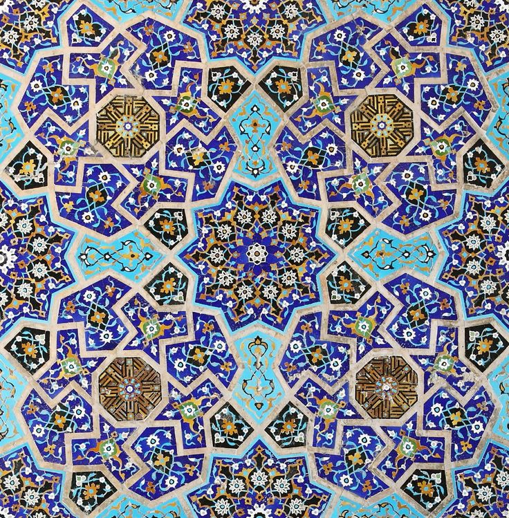 Splendid mosaic from 15th century at the South Iwan of Jameh Mosque. Isfahan, Iran.