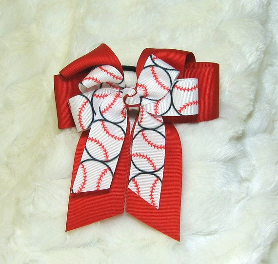 Softball Hair Bow  Bright Red Hair Bow with a by BonnieJBoutique, $8.75