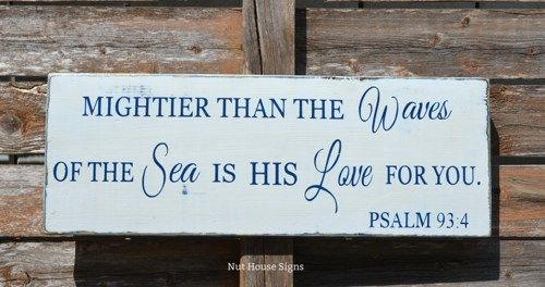 Beach Sign Nautical Nursery Decor Mightier Than The Waves Of The Sea Wall Art New Baby Gift Babies Children Kids Room Theme Religious Scripture Bible Verse Psalm 934 Baby Shower Boys Girls Rustic Wood Signs
