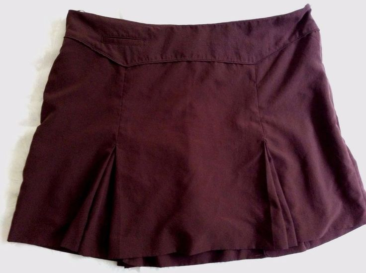 IZOD Women's Sz 14 Golf Tennis Skort Skirt Brown Pleated w Compression Shorts  #IZOD #SkirtsSkortsDresses