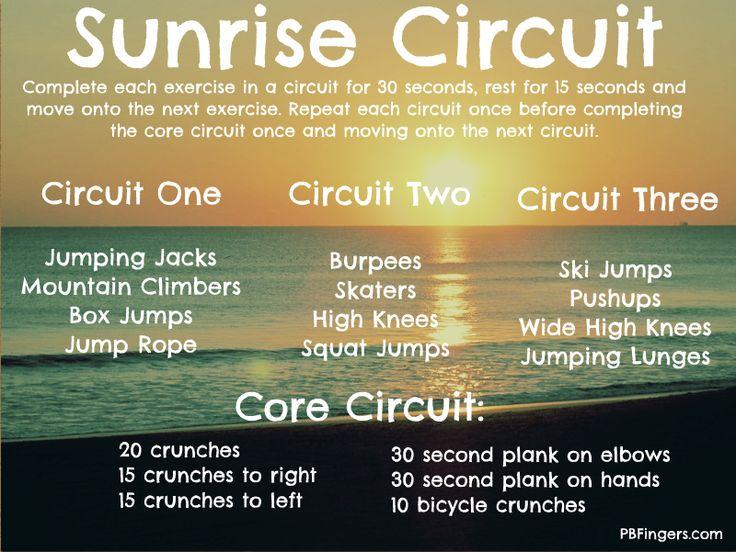Sunrise Circuit: Cardio + Core Workout: Circuit Training, Workout Exerci, Workout Plans, Cores Workout, Mornings Workout, Interval Training, Sunri Circuit, Circuit Workout, Good Workout
