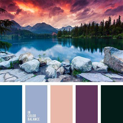 azul cobalto, color azul aciano, color berenjena, color montaña, colores acuáticos, colores de la puesta del sol, colores de la puesta del sol sobre un lago, colores vivos, contraste, de color violeta, rosado claro, rosado con tono rojo, verde oscuro.