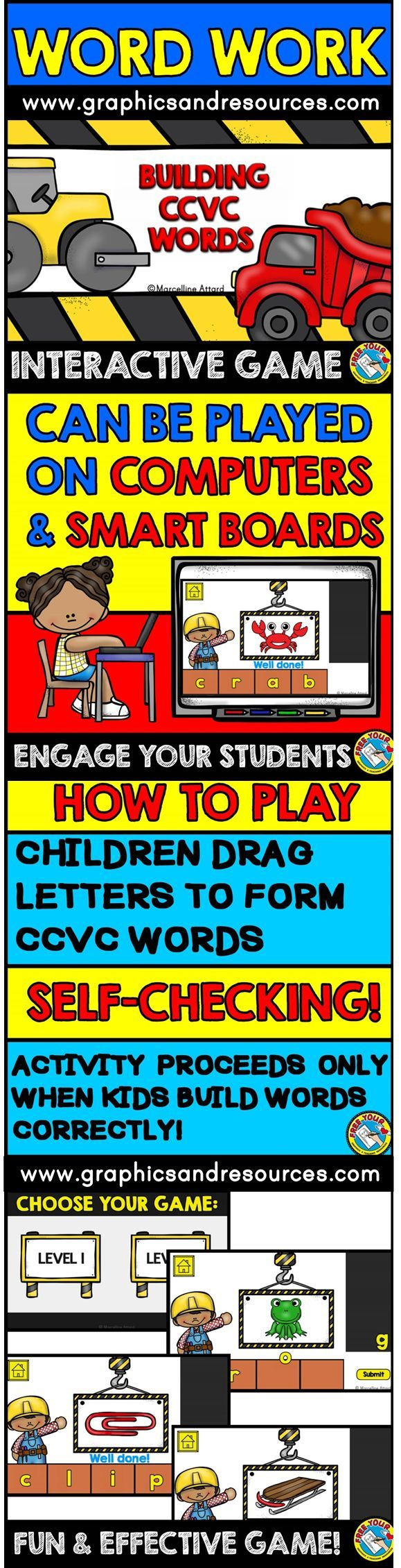 A simple and engaging game for children to practice building ccvc words. This game is designed to be used on a computer or interactive whiteboard. Children drag letters onto the bricks to form the word for each ccvc picture. Then they click on 'Submit' button to check if they formed the word correctly or not.  Click to view resource!