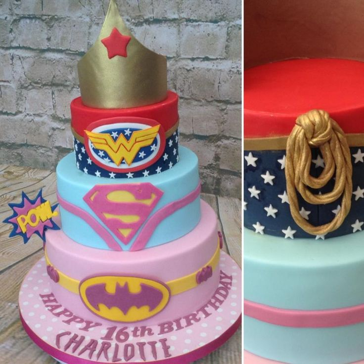 Girly Superheroes 16th birthday  by Cake-D-Licious