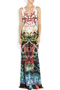 As intricate and ornate as a painting, Roberto Cavalli's printed stretch-jersey gown is an eveningwear masterpiece. A clever detachable bolero provides more coverage for formal occasions, and is perfectly balanced by the beautiful bell-shaped skirt. Wear your hair high and keep accessories understated to show off this sensational style to full effect.