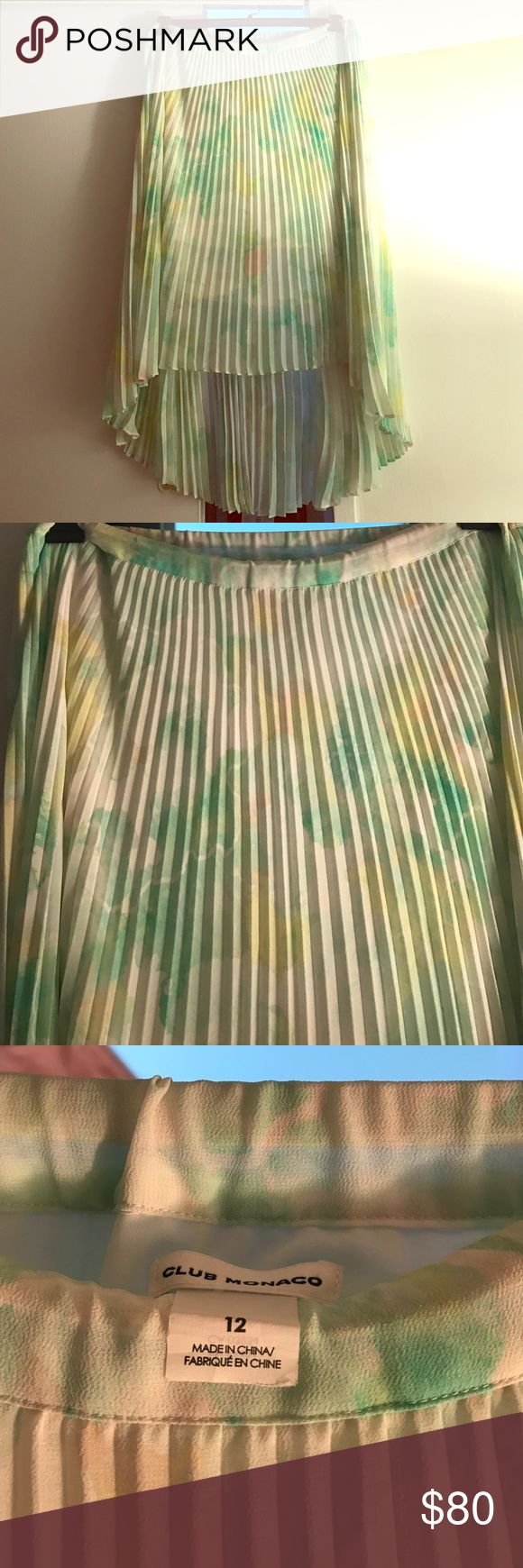 Club Monaco tie dye crepe skirt Beautiful and unique green with pink and cream accents.  High low skirt. So fun. Make me an offer. Elastic waste band. Club Monaco Skirts High Low