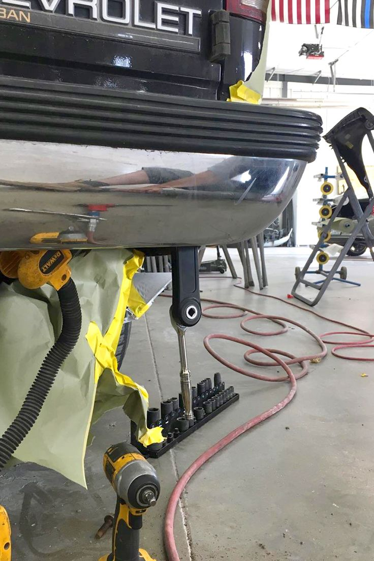 """Using the 3/8""""PRO Tite-Reach Extension Wrench to remove the bumper on this Chevy Suburban"""