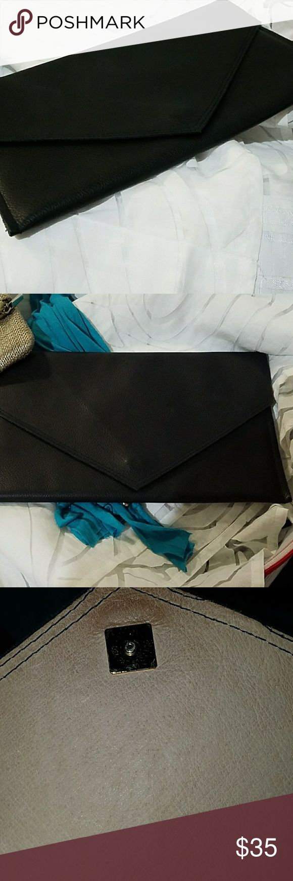 Bundle-Black Envelope Clutch Purse & Teal scarf Black Clutch Romag #5722126, Teal scarf w/silver rings on it Romag Bags Clutches & Wristlets