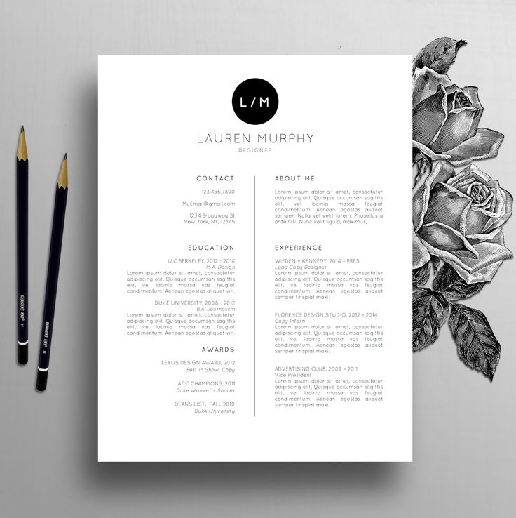 Creative Resume Template + CV Template, Cover Letter, References, Mac / PC |