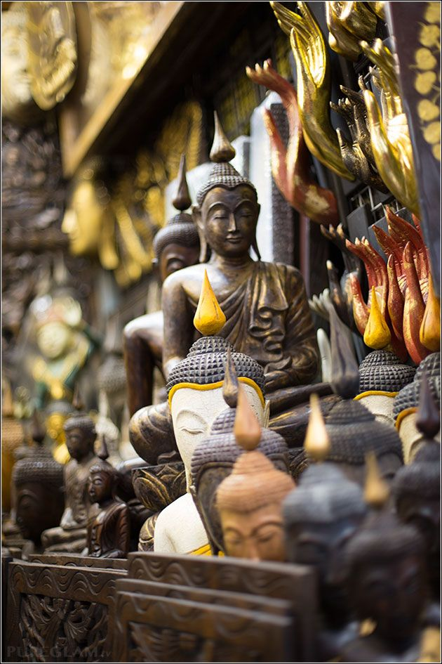 Chatuchak Weekend Market Bangkok – near Mo-Chit Station -- Gina collects elephant statues, but it's time for her to start a Buddha collection!