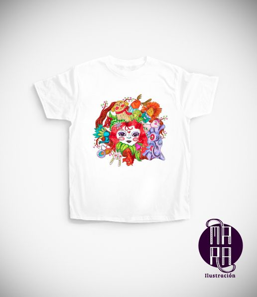 Camiseta Bosque para niña Colores disponibles: Blanco - Negro - Rosado - Amarillo - Lila - Verde limón Edades: 3/4 - 5/6 - 7/8 - 9/11 - 12/14 http://camaloon.es/descubre/artistas/mara-ilustracion/creaciones/bosque/camisetas-personalizadas/camisetas-infantiles-personalizadas/productos