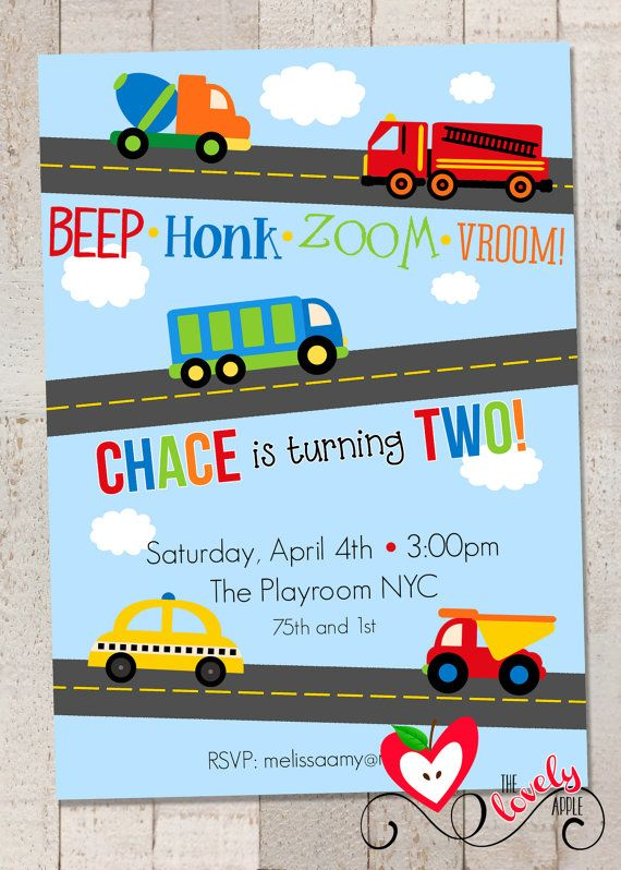 Transportation Birthday Party Invite, DIY Printable Transportation Invitation, Cars and Trucks Invite
