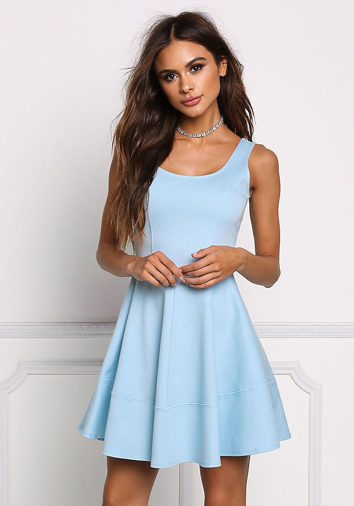 Sky Blue Fit & Flare Dress - New