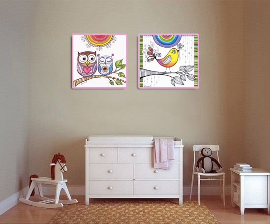 Baby Room Wall Decor - 2 Prints - Owls u0026 Bird Drawing, Nursery Wall decor